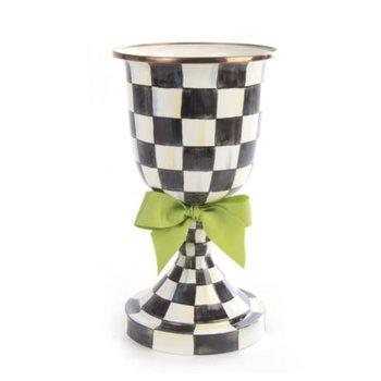 Courtly Check Enamel Pedestal Vase