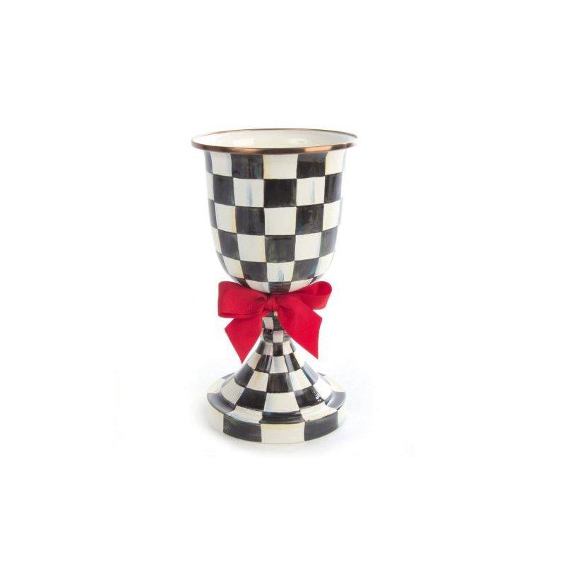MacKenzie-Childs Courtly Check Enamel Pedestal Vase