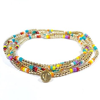 Gold Multi-Color Ball Bracelets (Set of 4)