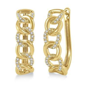 Curb Link Diamond Hoop Earrings