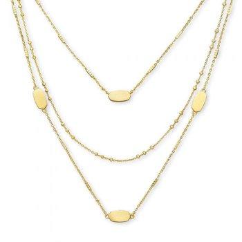 Fern Triple Strand in Gold