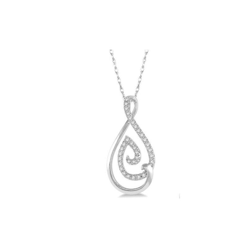 Kelley Collection  Swirl Drop Diamond Pendant