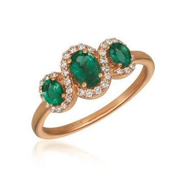 14K Strawberry Gold Costa Semerlda Emerald & Diamond Ring.