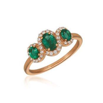 14K Strawberry Gold® Costa Semerlda Emerald & Diamond Ring