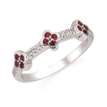 Diamond & Ruby Flower Ring