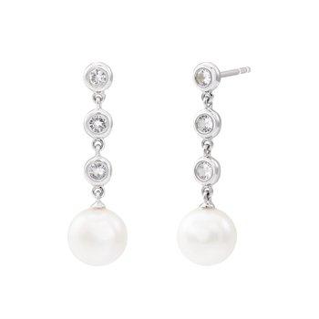 Freshwater Cultured Pearl & Sapphire Dangle Earrings