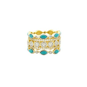 Fleur Bloom Empire Turquoise 5-Stack Statement Ring