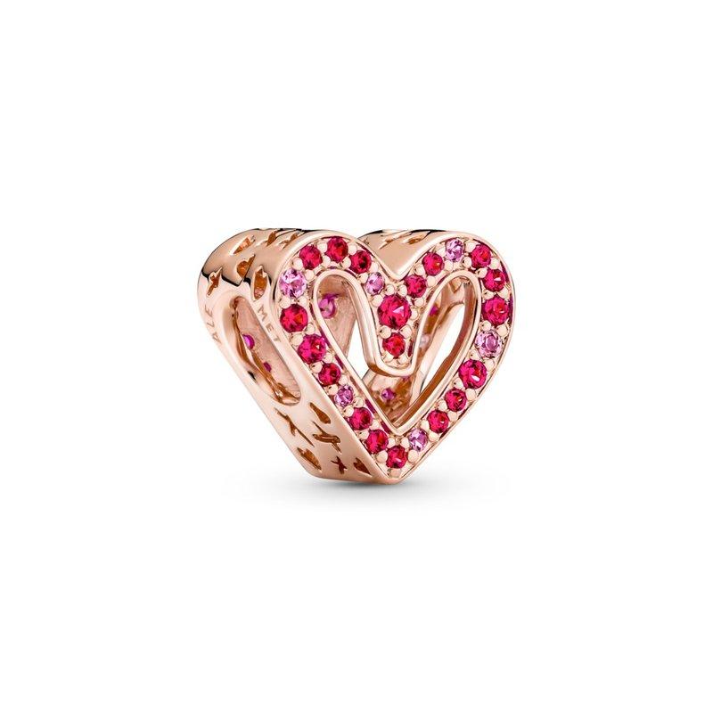 PANDORA Heart Pandora Rose charm with synthetic ruby