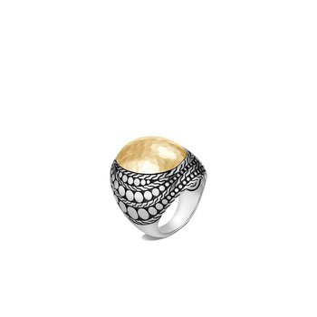 Dot Hammered Dome Ring