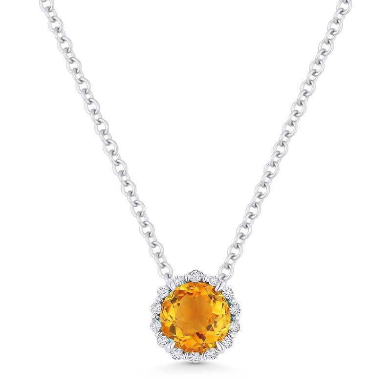 Kelley Collection  Citrine & Diamond Halo Pendant