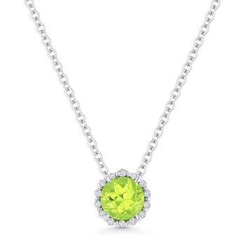 Peridot  & Diamond Halo Pendant