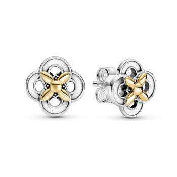 Two-Tone Flower Stud Earrings