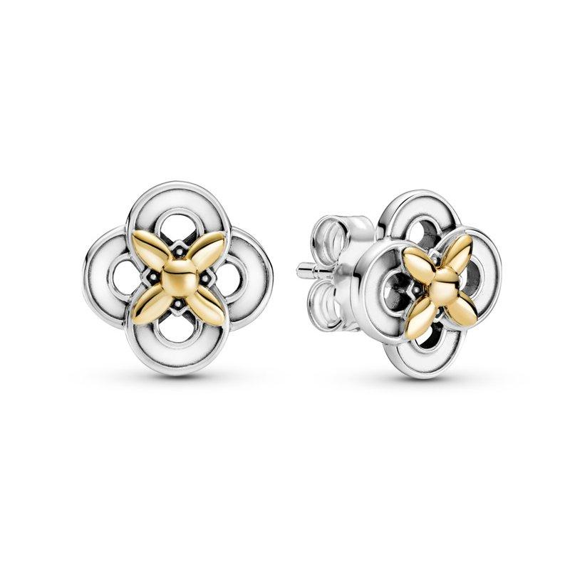 PANDORA Two-Tone Flower Stud Earrings