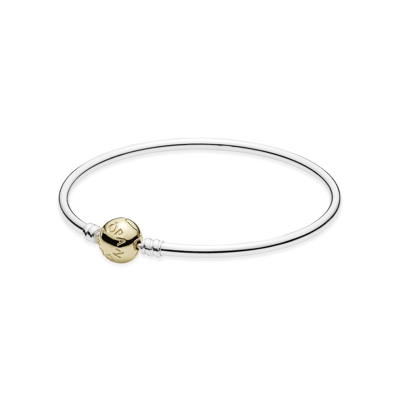 PANDORA Sterling Silver Bangle with 14K Gold Clasp
