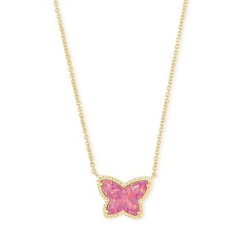 Lillia Butterfly Pendant in Rose Pink Opal