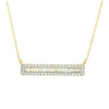 Baguette & Round Diamond Bar Necklace