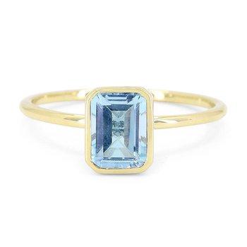 Blue Topaz Bezel Ring