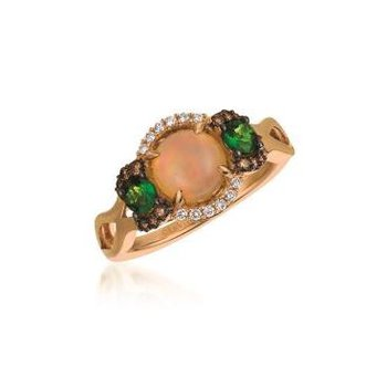 14K Strawberry Gold® Neopolitan Opal™ & Pistachio Diopside® Ring