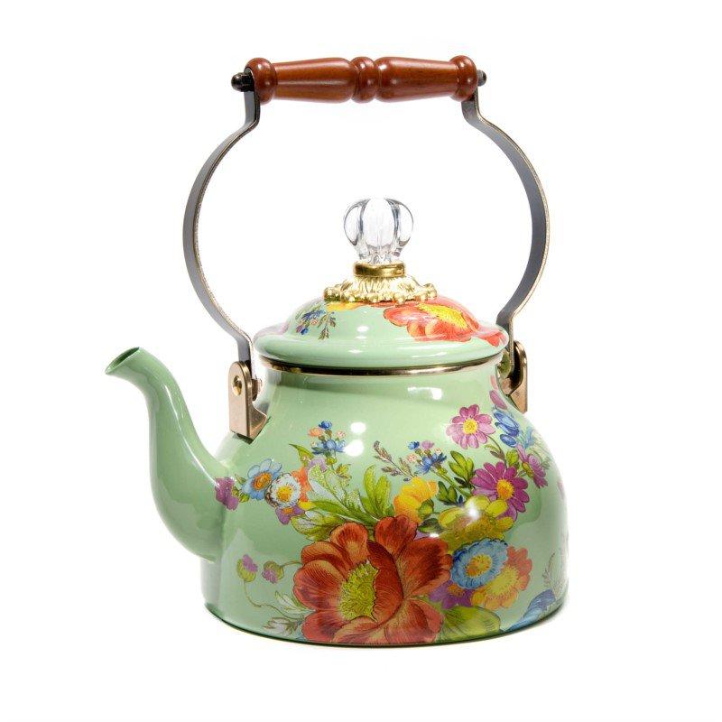MacKenzie-Childs Flower Market 2 Quart Tea Kettle - Green