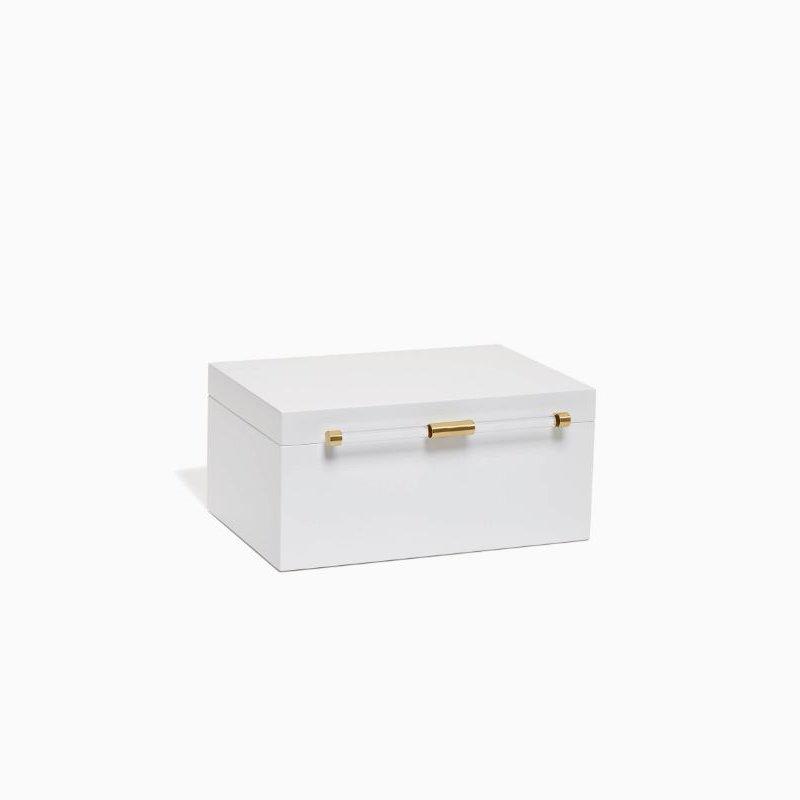 Kendra Scott Medium Antique Brass Jewelry Box In White Lacquer