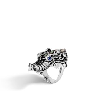Naga Ring with Grey Mother of Pearl and Black Sapphire