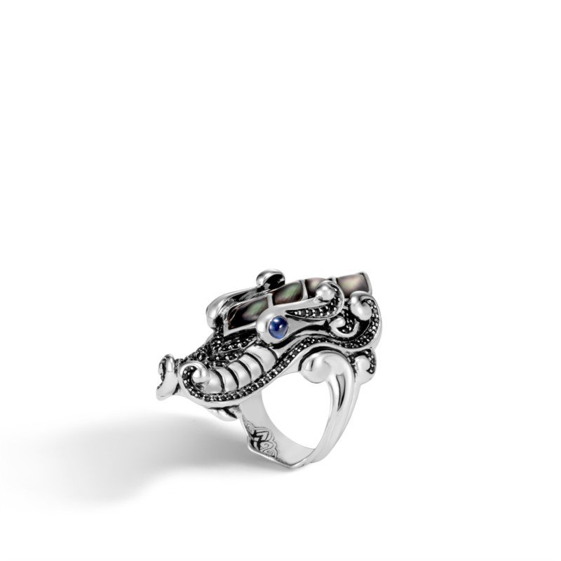 John Hardy Naga Ring with Grey Mother of Pearl and Black Sapphire