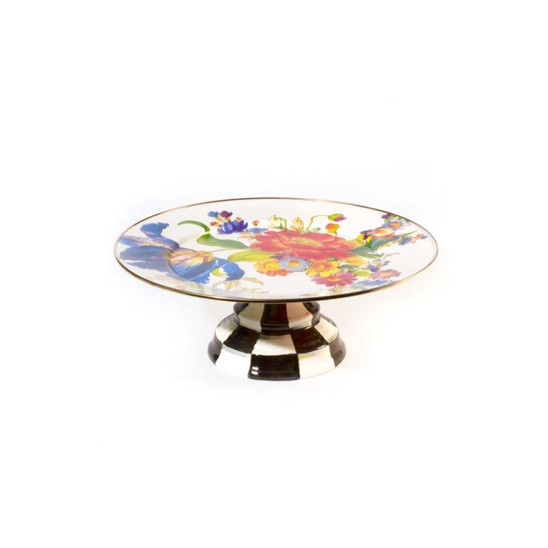 MacKenzie-Childs Flower Market Pedestal Platter - White