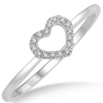Diamond Open Heart Ring