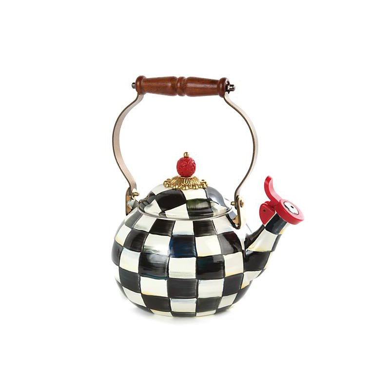 MacKenzie-Childs Courtly Check Enamel Whistling Tea Kettle