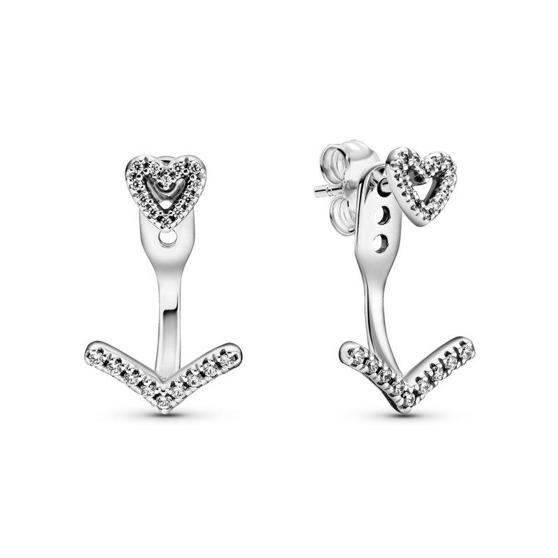 PANDORA Sparkling Wishbone Heart Stud Earrings