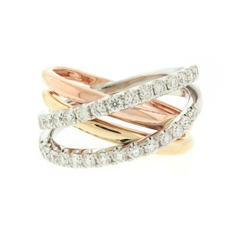 Tri-Color Criss Cross Diamond Ring