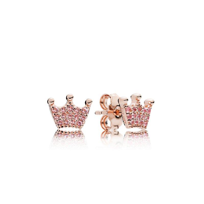 PANDORA Pink Enchanted Crown Pandora Rose Stud Earrings