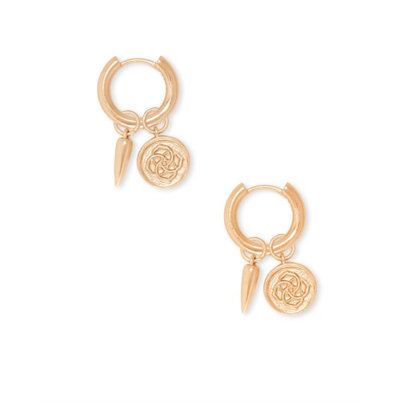 Kendra Scott Dira Coin Huggies In Rose Gold