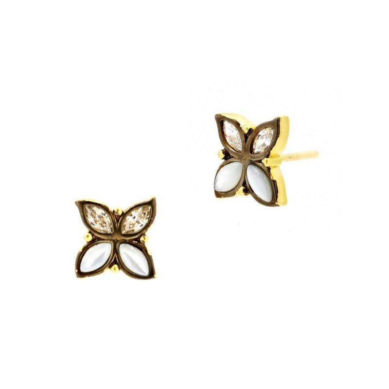 Freida Rothman Fleur Bloom Leaflet Stud Earrings