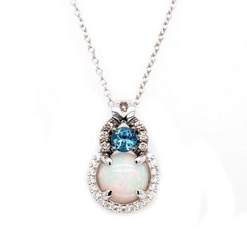 Neopolitan Opal™ &  Deep Sea Blue Topaz™ Chocolatier® Pendant