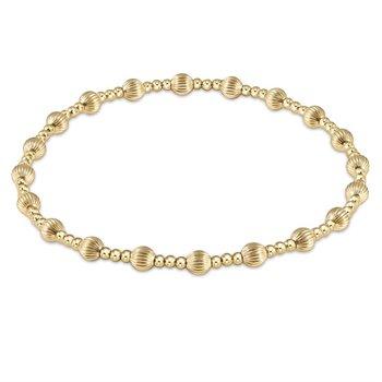 Dignity Sincerity Pattern 4mm Bead Bracelet - Gold
