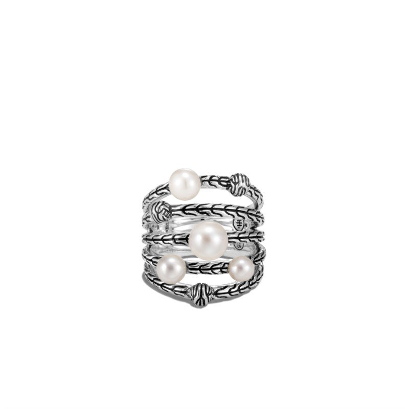 John Hardy Classic Chain Ring with Freshwater Pearl