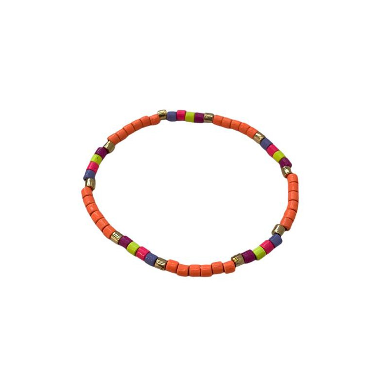 Caryn Lawn Seashore Tube Bracelet - Neon Orange Multi