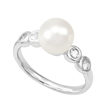 White Freshwater Cultured Pearl & Sapphire Ring