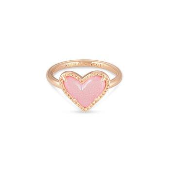 Ari Heart in Light Pink Drusy