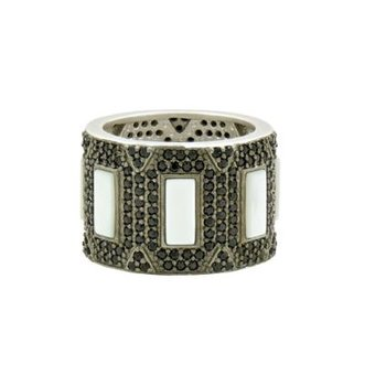 Industrial Finish Mother of Pearl & Pave Cigar Band Ring