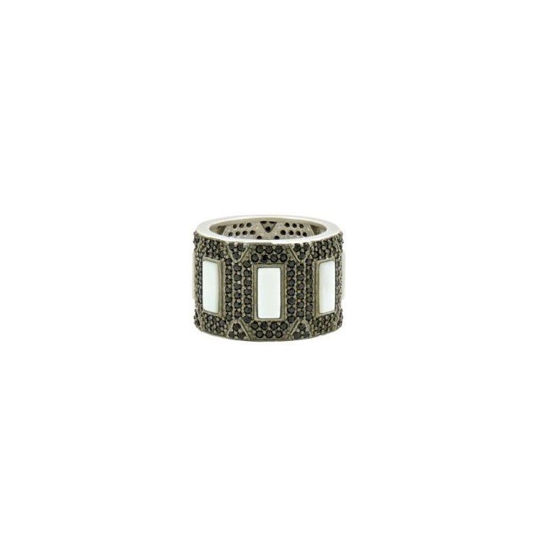 Freida Rothman Industrial Finish Mother of Pearl & Pave Cigar Band Ring
