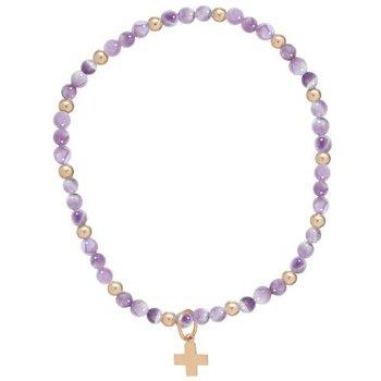 Sincerity Pattern Cross Charm Bracelet - Dogtooth Amethyst