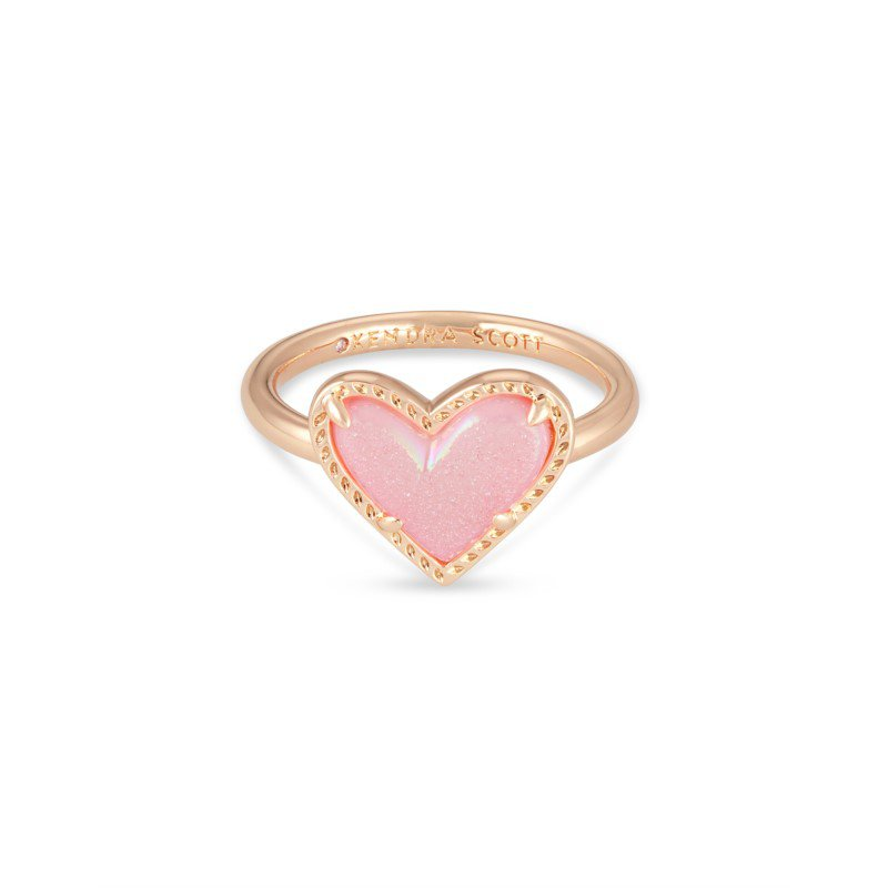Kendra Scott Ari Heart in Light Pink Drusy