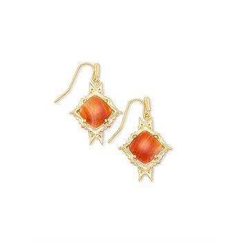 Cass Drop Earring in Orange Banded Agate