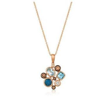 Mixed Shape Deep Sea Blue Topaz™ & Vanilla Diamonds®  Pendant