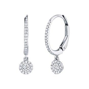 Diamond Dangle Hoop Earrings