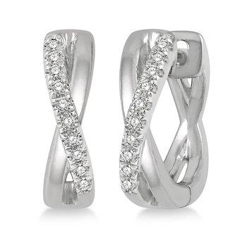 Criss Cross Diamond Huggie Earrings