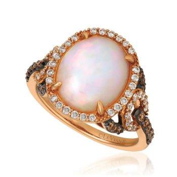 14K Strawberry Gold® Neoplitan Opal & Diamond Ring