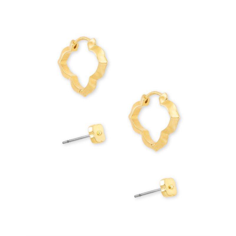 Kendra Scott Abbie Stud & Huggie Earring Set in Gold